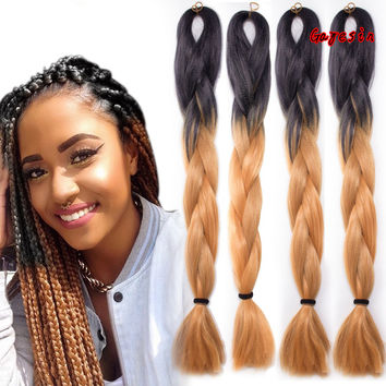 """Silky 24""""/60CM 100g Ombre Jumbo Braids Hair Extension African Braided Hair Ombre Braiding Hair Synthetic Weaving Hair Extension"""