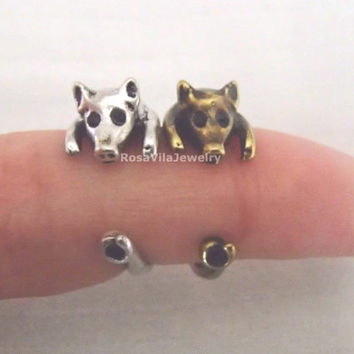 Pig ring - Gold and Silver; adjustable size; minimalist knuckle rings, midi rings, mini rings, animal ring, cute ring, piggy