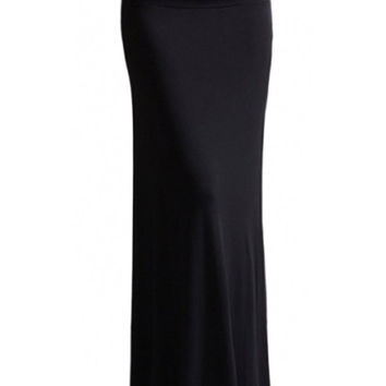 Solid Color Floor Length Maxi Skirt