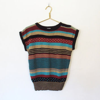 Vintage 1970s Boho / Cap Sleeve Striped Pullover Sweater / Shoulder Buttons