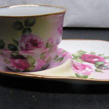 Vintage ND Exclusive Pink & Red Rose Teacup Snack Set Gold Trimmed Shabby Chic Cottage Romantic Pretty Delicate Feminine Collectible Gift