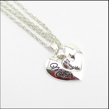 Mother Daughter Heart Necklaces 2pc Set