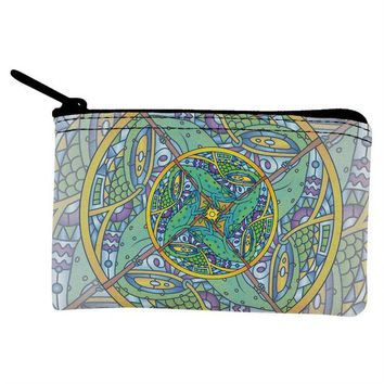 DCCKJY1 Mandala Trippy Stained Glass Chameleon Coin Purse