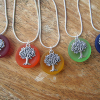 Sea Glass Necklace - Tree of Life Jewelry - Orange Sea Glass - Red Sea Glass - Peridot Necklace - Sea Glass Jewelry