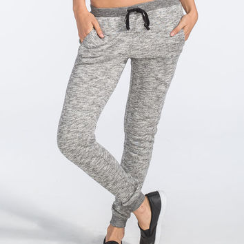Full Tilt Essential Marled Womens Jogger Pants Black/White  In Sizes