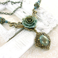Neo Victorian Cabochon Necklace - Hand Cast Dusty Teal Rose Cabochon Antique Brass Jewelry - Shabby Chic Victorian Necklace Jewelry