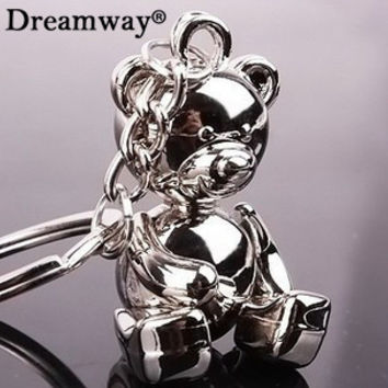 metal bear keychains lovely zinc alloy animal teddy key chain for girl key rings women handbag charm accessory drop shipping