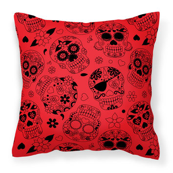 Day of the Dead Orange Fabric Decorative Pillow BB5119PW1818