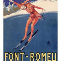 Font Remeu Winter Snow Ski Ad by Achille Mauzan Fine Art Print