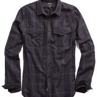 Flannel Plaid Shirt in Plum/Grey