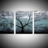 """View: triptych multi color 3 panel wall art color turquoise black white impasto tree in wood """"The Tree of life"""" turquoise edition 3 panel wall abstract canvas abstraction 48 x 20 """" other sizes available 