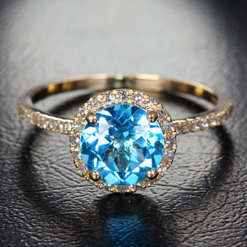 Natural 7mm Blue Topaz .22ct Pave Diamonds 14K Yellow Gold Halo Engagement Ring