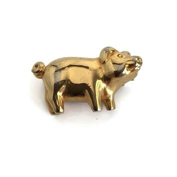 Adorable Dotty Smith Pig Brooch, Tiny Pig Pin, Signed Figural Animal Brooch, Farm Animal Pin, Vintage Critter Jewelry, Gold Tone Metal Pig