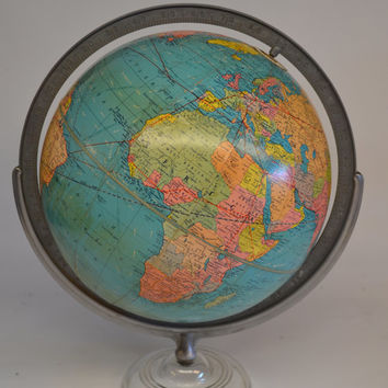 Rare Antique Replogle Globe 12 inch Standard Globe Glass Base Vintage Replogle World Globe