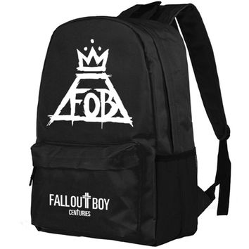 Fall Out Boy FOB Punk rock band Backpack Middle High School Students Bookbag Schoolbag