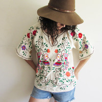 Vintage Mexican Embroidered Flower and Bird Hippie Boho Festival Tunic