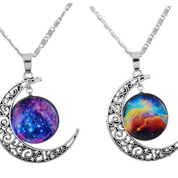 "MJartoria ""Love Across Light Years"" Filigree Crescent Moon Nebulae Cabochon Friendship Necklace Set of 2"