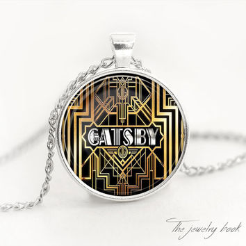 The Great Gatsby necklace the great gatsby pendant Great Gatsby jewelry The great Gatsby glass pendant