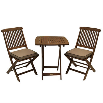 3-Piece Bistro Style Outdoor Patio Furniture Chair Table Set with Cushions