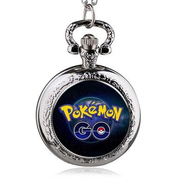 Hot Game Pokemon Extension Poke Ball Theme Glass Dome Design Pocket Watch With Chain Necklace