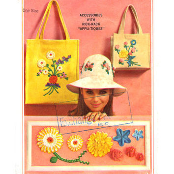 Vintage 60s Hat Purse Sewing Pattern Rick Rack Applique Uncut