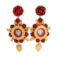 Dolce & Gabbana Gold Crystal Red Roses Heart Dangling Clip On Earring