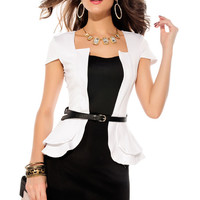 Cap Sleeves White Peplum Dress with Waist Belt