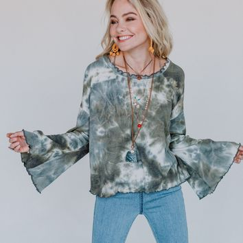 Collision Course Tie Dye Top - Olive