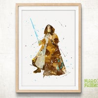 Obi-Wan, OB1 - Watercolor, Star Wars Art Print, Home Wall decor, Gift for him, Watercolor Print, Star Wars Poster