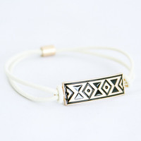 White Tribal Stretch Bracelet