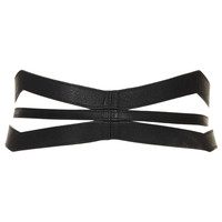 Slashed Leather Corset Belt