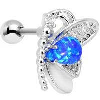 Stainless Steel Blue Faux Opal Butterfly Right Cartilage Earring
