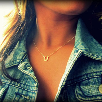 Tiny Horseshoe Necklace, Little Gold Horseshoe, Gold or Silver, Floating Horseshoe, Penny Necklace Happy Endings, Bridesmaids Jewelry