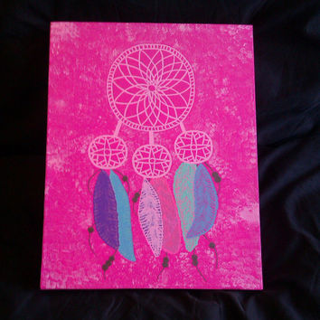 Dream catcher and feathers acrylic canvas painting for girls room #canvaspainting #dreamcatcher #art #Etsy