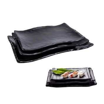 Black Melamine Flatware Sets Dipping Sauce Dishes Sushi Plates Food Snacks Dinnerware Square Dinner Tray Restaurant Oval Bowl