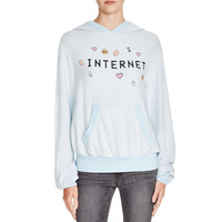Wildfox Couture Womens Internet Front Pockets Graphic Hoodie