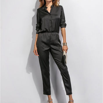 Black Long Sleeve Buttoned Elastic Waist Jumpsuit