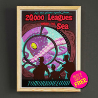 Disneyland Vintage Tomorrowland 20,000 Leagues Under The Sea Attraction Poster Home Wall Decor Gift Linen Print - Buy 2 Get 1 FREE - 385s2g