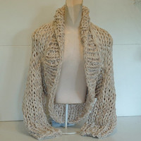 Shawl collar shrug super chunky knit long sleeved sweater crop cardigan cardi small medium large women in cream tweed