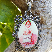 Guardian Angel Pendant Necklace - Angel Girl Pink Dress Call Your Mother