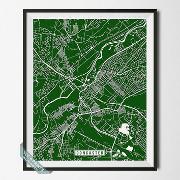 Doncaster Print, England Poster, Doncaster Poster, Doncaster Map, England Print, England Map, Map Poster, Street Map, Wall Art