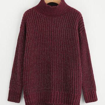 Burgundy Marled Stepped Hem Knit Slit Jumper