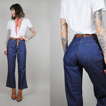 vtg 70's High Waist indigo Flared dark Denim Blue JEANS BELLBOTTOM hippie boho • small