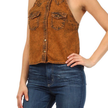 Womens GJG Denim top with Split Back Young Adults