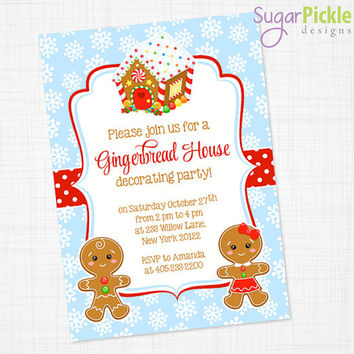 Christmas Party Invitation, Cookie Decorating Gingerbread Party Invite, Gingerbread House Holiday Party, Gingerbread invitation