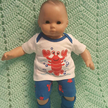 "Baby Doll Clothes to fit 15 inch baby doll BOY ""Little Red Lobster"" 15 inch playset top socks shorts O4"