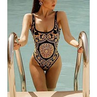 Versace New fashion more print vest one piece bikini swimsuit
