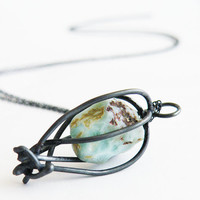 Raw Larimar Cage Pendant Necklace Black Oxidized Sterling Silver Gemstone Necklace by SteamyLab