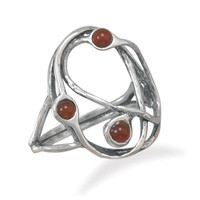 Oxidized Open Abstract Carnelian Ring