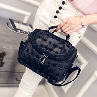 Black Leather Studded Shoulder Bag Casual Crossbody Bag